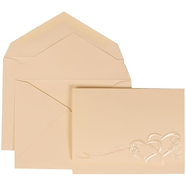 JAM Paper® Wedding Invitation Set, Large, 5.5 x 7.75, Ivory with Ivory Lined Envelopes with Entwined Hearts, 50/Pack (307124844)