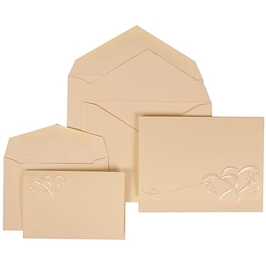 JAM Paper® Wedding Invitation Combo Sets, 1 Sm 1 Lg, Ivory, Ivory Lined Envelopes, Entwined Heart Design, 150/Pack (307124845)