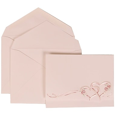 JAM Paper® Wedding Invitation Set, Large, 5.5 x 7.75, White with White Envelopes and Entwined Hearts, 50/Pack (307124849)