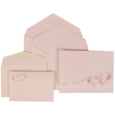 JAM Paper® Wedding Invitation Combo Sets, 1 Sm 1 Lg, White Cards with Entwined Hearts, White Envelopes, 150/Pack (307124850)
