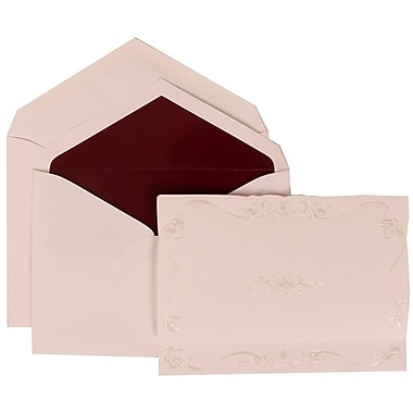 JAM Paper® Wedding Invitation Set, Large, 5.5 x 7.75, Ivory, Maroon Rose Border, Burgundy Lined Envelopes, 50/Pack (307224851)