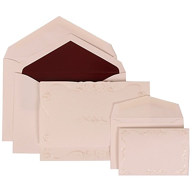 JAM Paper® Wedding Invitation Combo Sets, 1 Sm 1 Lg, Ivory Card, Ivory Design, Burgundy Lined Envelopes, 150/Pack (307224853)