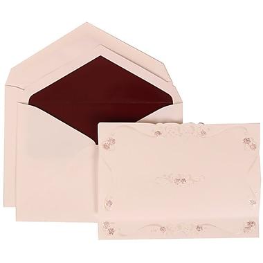 JAM Paper® Wedding Invitation Set, Large, 5.5 x 7.75, White, Maroon Rose Border, Burgundy Lined Envelopes, 50/Pack (307224854)