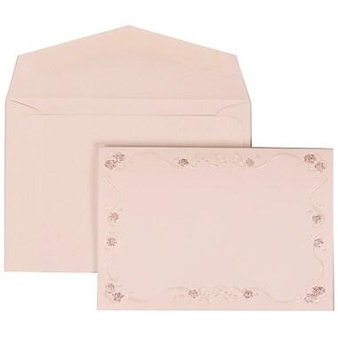 JAM Paper® Wedding Invitation Set, Small, 3.38 x 4.75, White Envelopes and Maroon Rose Border, 100/Pack (307224855)