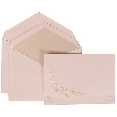 JAM Paper® Wedding Invite Set, Large, 5.5x7.75, White, Ivory Embossed Seashells, Crystal Lined Envelopes, 50/pack (307324863)