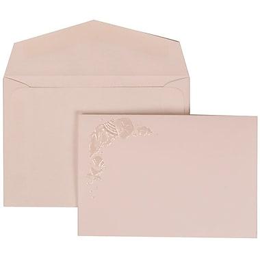 JAM Paper® Wedding Invitation Set, Small, 3.38 x 4.75, White Cards, Ivory Seashells, White Envelopes, 100/Pack (307324864)