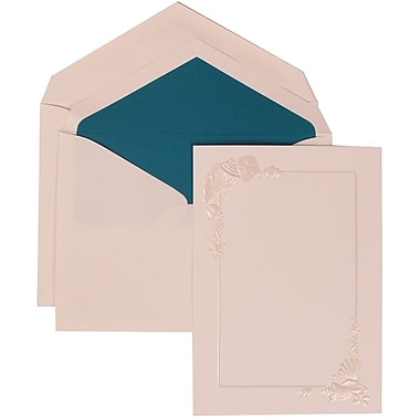 JAM Paper® Wedding Invitation Set, Large, 5.5 x 7.75, White with Blue Lined Envelopes and Seashell Border, 50/Pack (307424870)