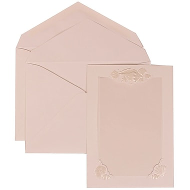 JAM Paper® Wedding Invitation Set, Large, 5.5 x 7.75, White Cards, Seashell Border, White Lined Envelopes, 50/Pack (307424877)