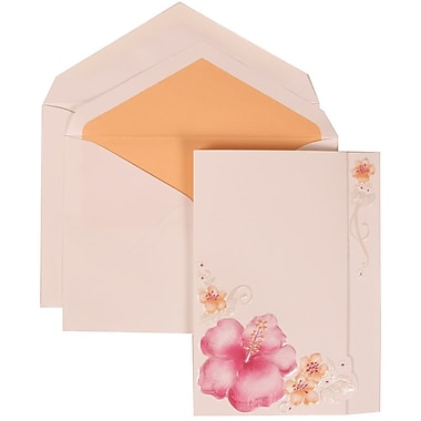 JAM Paper® Wedding Invitation Set, Large, 5.5 x 7.75, White Cards, Pink Flower, Pale Orange Lined Envelopes, 50/Pack (307524879)