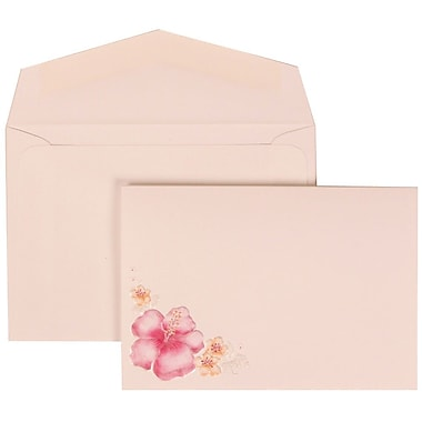 JAM Paper® Wedding Invitation Set, Small, 3.38 x 4.75, White with White Envelopes and Pink Flower, 100/Pack (307524880)