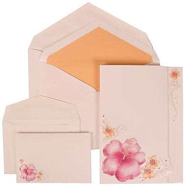 JAM Paper® Wedding Invitation Combo Sets, 1 Sm 1 Lg, White Cards with Pink Flower, Orange Lined Envelopes, 150/Pack (307524881)