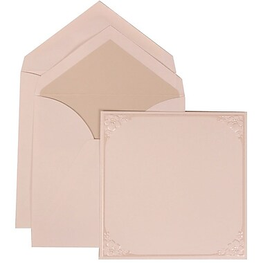 JAM Paper® Wedding Invitation Set, Large, 5.5 x 7.75, Ivory, Flower Accent Border, Crystal Lined Envelopes, 50/Pack (307624884)