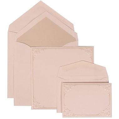 JAM Paper® Wedding Invitation Combo Sets, 1 Sm 1 Lg, Ivory, Crystal Lined Envelopes, Flower Accent Border, 150/Pack (307624886)