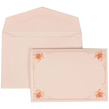 JAM Paper® Wedding Invitation Set, Small, 3.38 x 4.75, White Cards with 4 Pink Flowers, White Envelopes, 100/Pack (307624891)