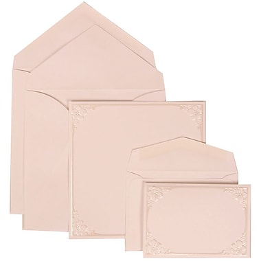 JAM Paper® Wedding Invitation Combo Sets, 1 Sm 1 Lg, Ivory, White Lined Envelopes, Flower Accent Border, 150/Pack (307624894)