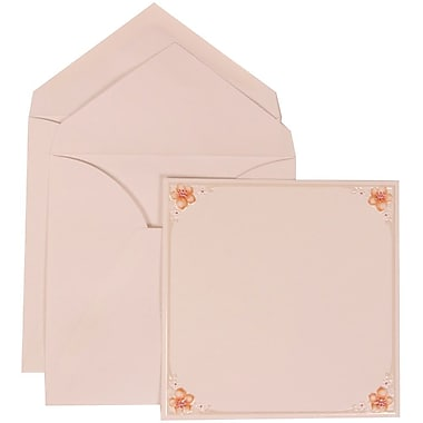 JAM Paper® Wedding Invitation Set, Large, 6.25 x 6.25, White Cards with 4 Pink Flowers, White Envelopes, 50/Pack (307624897)
