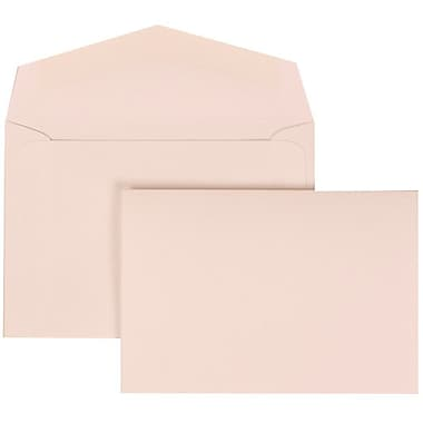 JAM Paper® Wedding Invitation Set, Small, 3.38 x 4.75, White with White Envelopes and Pink and White Bow, 100/Pack (307724906)