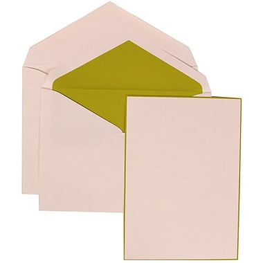 JAM Paper® Wedding Invite Set, Large, 5.5 x 7.75, White Cards with Lime Green Border and Lined Envelopes, 50/pack (308024911)