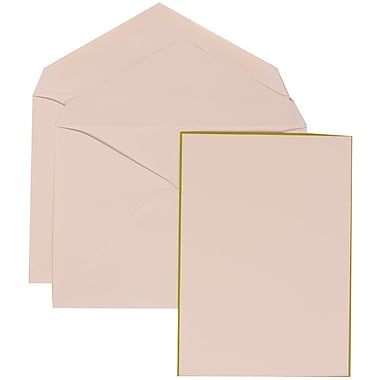 JAM Paper® Wedding Invitation Set, Large, 5.5 x 7.75, White Cards with Lime Green Border, White Envelopes, 50/Pack (308024914)