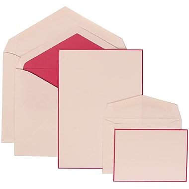 JAM Paper® Wedding Invitation Combo Sets, 1 Sm 1 Lg, White Cards with Pink Border, Pink Lined Envelopes, 150/Pack (308024918)