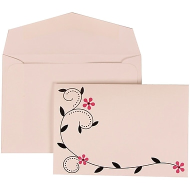 JAM Paper® Wedding Invitation Set, Small, 3.38 x 4.75, Pink with White Envelopes and Colourful Birds, 100/Pack (308124928)