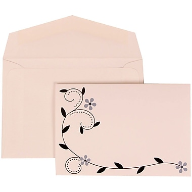 JAM Paper® Wedding Invite Set, Small, 3 3/8 x 4 3/4, White Cards with Grey Birds Design, White Envelopes, 100/pack (308124931)
