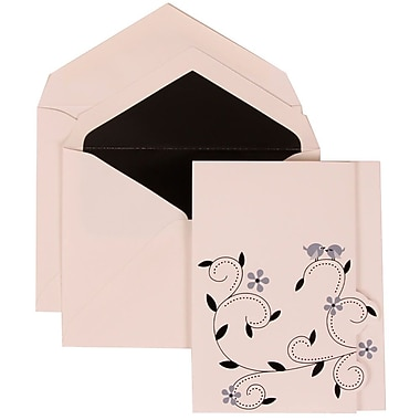JAM Paper® Wedding Invitation Set, Large, 4.75 x 6 1/8, Grey Card with Black Lined Envelopes, 50/Pack (308124933)