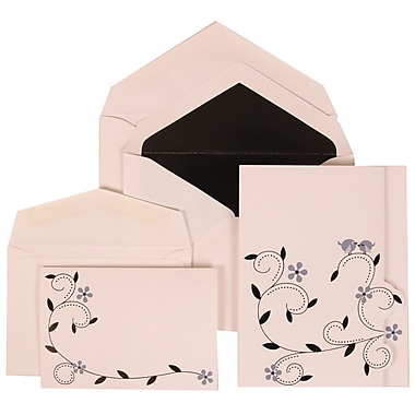 JAM Paper® Wedding Invitation Combo Sets, 1 Sm 1 Lg, White Cards with Grey Bird Design, Black Lined Env, 150/Pack (308124934)