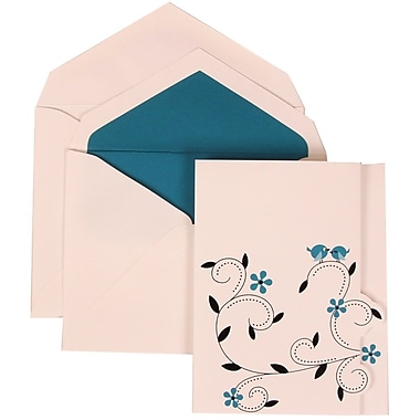 JAM Paper® Wedding Invitation Set, Large, 5.5 x 7.75, Colourful Birds with Blue Lined Envelopes, 50/Pack (308124935)