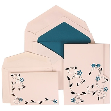 JAM Paper® Wedding Invitation Combo Sets, 1 Sm 1 Lg, White Cards with Blue Birds, Blue Lined Envelopes, 100/Pack (308124937)