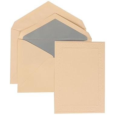 JAM Paper® Wedding Invitation Set, Large, 5.5 x 7.75, Ivory, Embossed Garden Border, Blue Lined Envelopes, 50/Pack (308224938)