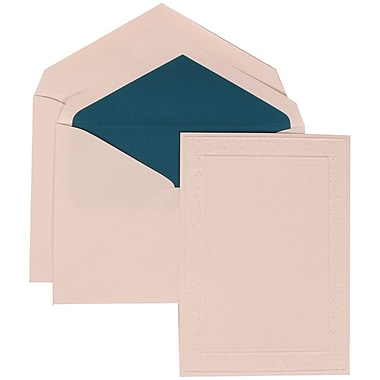 JAM Paper® Wedding Invitation Set, Large, 5.5 x 7.75, White, Embossed Garden Border, Blue Lined Envelopes, 50/Pack (308224941)