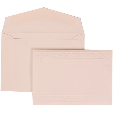 JAM Paper® Wedding Invite Set, Small, 3 3/8 x 4 3/4, White Card, Embossed Garden Border, White Envelopes, 100/pack (308224942)