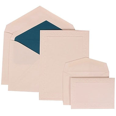 JAM Paper® Wedding Invitation Combo Sets, 1 Sm 1 Lg, White, Embossed Garden Border, Blue Lined Envelopes, 150/Pack (308224943)
