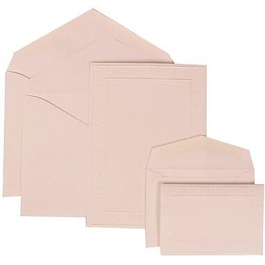 JAM Paper® Wedding Invitation Combo Sets, 1 Sm 1 Lg, White Cards, Embossed Garden Border, White Envelopes, 150/Pack (308224947)