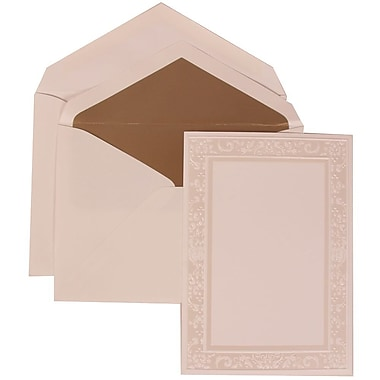 JAM Paper® Wedding Invite Set, Large, 5.5 x 7.75, White Cards, Ivory Garden Border, Taupe Lined Envelopes, 50/pack (308324949)