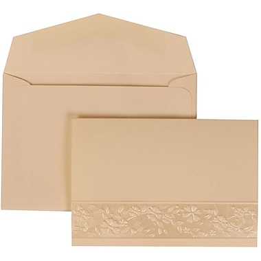 JAM Paper® Wedding Invite Set, Small, 3 3/8 x 4 3/4, Ivory Cards, Floral Embossed Oval, Ivory Envelopes, 100/pack (308424958)