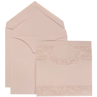 JAM Paper® Wedding Invitation Set, Large, 5.5 x 7.75, White with White Envelopes and Floral Embossed Oval, 50/Pack (308424960)