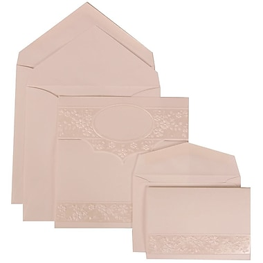 JAM Paper® Wedding Invitation Combo Sets, 1 Sm 1 Lg, White Cards with Embossed Oval, White Envelopes, 150/Pack (308424962)