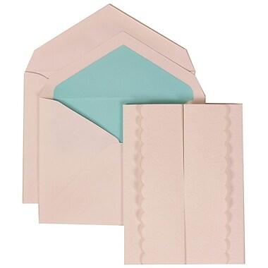JAM Paper® Wedding Invite Set, Large, 5.5 x 7.75, White Cards, White Garden Tuxedo, Blue Lined Envelopes, 50/pack (308624970)