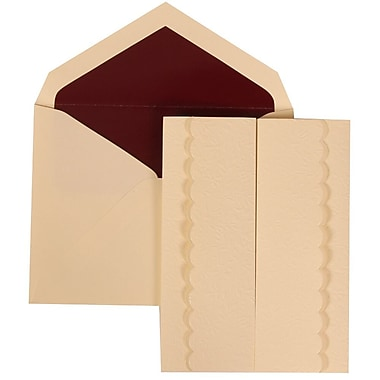 JAM Paper® Wedding Invitation Set, Large, 5.5 x 7.75, Ivory Garden Tuxedo Design, Burgundy Lined Envelopes, 50/Pack (308724982)