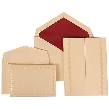 JAM Paper® Wedding Invitation Combo Sets, 1 Sm 1 Lg, Ivory Cards, Red Lined Envelopes, Ivory Garden Tuxedo, 150/Pack (308724985)