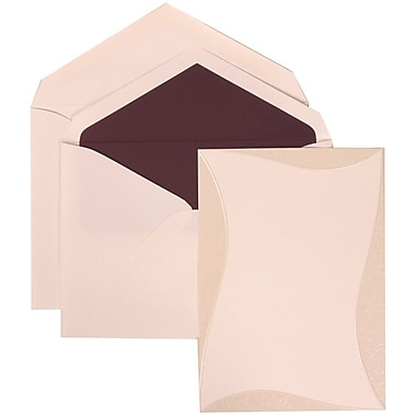 JAM Paper® Wedding Invitation Set, Large, 5.5 x 7.75, White Cards, Curved Border, Mulberry Lined Envelopes, 50/Pack (308824986)