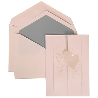 JAM Paper® Wedding Invite Set, Large, 5.5 x 7.75 Cards, White, Ivory Hearts Fanfold, Blue Lined Envelopes, 50/pack (309024992)