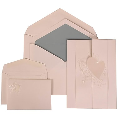 JAM Paper® Wedding Invitation Combo, 1 Sm 1 Lg, White Cards, Ivory Hearts Fanfold, Blue Lined Envelopes, 150/pack (309024994)