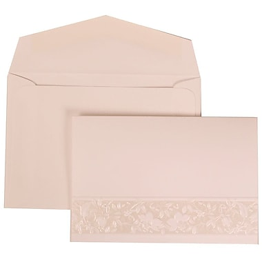 JAM Paper® Wedding Invitation Set, Small, 3.38 x 4.75, White Card, Floral Embossed Crest, White Envelope, 100/Pack (309125004)