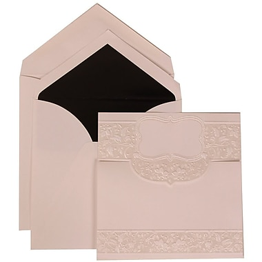 JAM Paper® Wedding Invitation Set, Large, 6.25 x 6.25, White, Floral Embossed Crest, Black Lined Envelopes, 50/Pack (309125005)