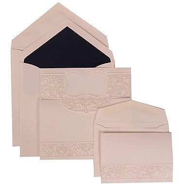JAM Paper® Wedding Invitation Combo Sets, 1 Sm 1 Lg, White, Floral Embossed Crest, Black Lined Envelopes, 150/Pack (309125006)