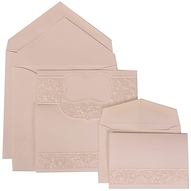 JAM Paper® Wedding Invitation Combo, 1 Sm 1 Lg, White Cards with Floral Embossed Crest, White Envelopes, 150/pack (309125008)
