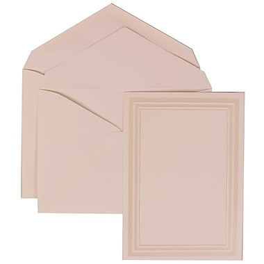 JAM Paper® Wedding Invite Set, Medium Flat, 5.5x 7.75, White, Ivory Triple Border, White Lined Envelopes, 50/pack (309225020)